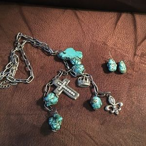 Jewelry - Turquoise Chunks Cross Necklace & Earrings